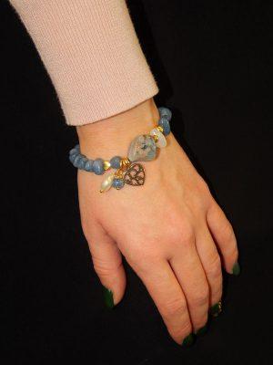 Βραχιόλι Με Γαλάζιες-Γκρι Πέτρες