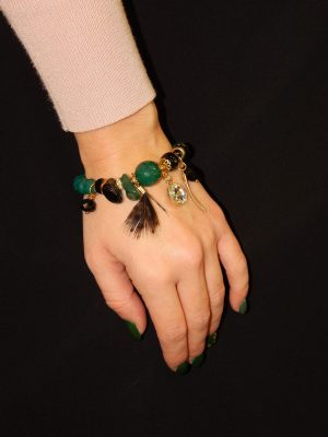 Βραχιόλι Με Μαύρες Και Πράσινες Πέτρες
