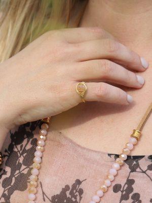 Δαχτυλίδι χρυσό με ροζ χάντρα