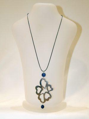 Μενταγιόν καρδιές με μπλε πέτρες