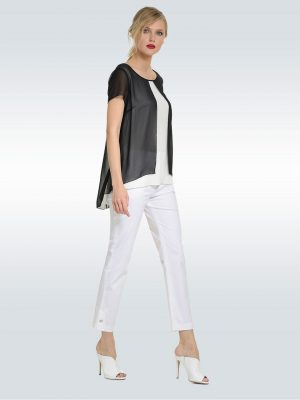 Μπλούζα με διπλή μουσελίνα