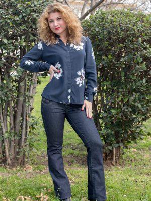 Παντελόνι jean χαμηλοκάβαλο καμπάνα