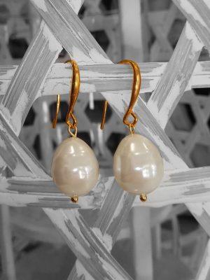 Σκουλαρίκια με εκρού πέρλες