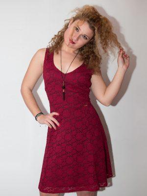 Φόρεμα δαντέλα μπορντό