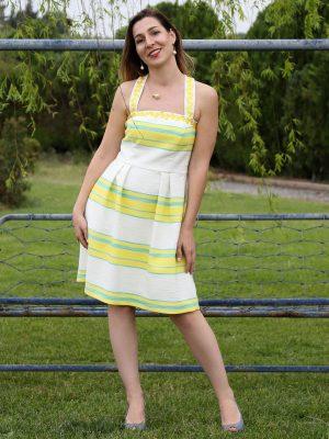 Φόρεμα με κίτρινες και γαλάζιες ρίγες