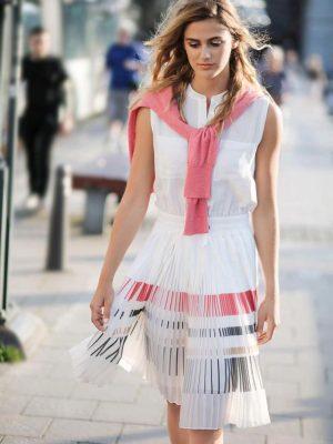 Φόρεμα λευκό με πλισέ