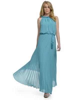 Φόρεμα μάξι πλισέ μουσελίνα
