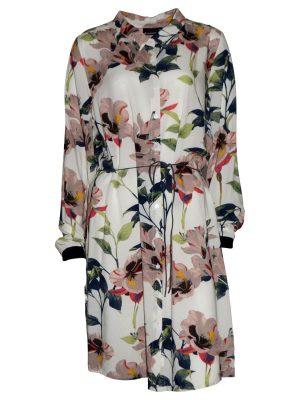 Φόρεμα σεμιζιέ εκρού με λουλούδια