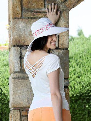 T-shirt λευκό με χιαστί