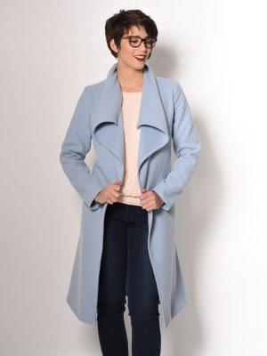 Παλτό με ζώνη γαλάζιο