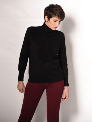 Μπλούζα πλεκτή ζιβάγκο μαύρη