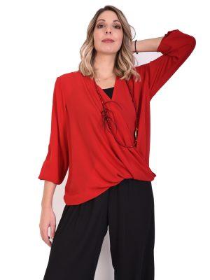 Μπλούζα κρουαζέ κόκκινη