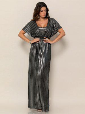 Φόρεμα Πλισέ Ασημί