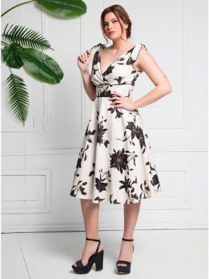 Φόρεμα Εκρού Φλοράλ