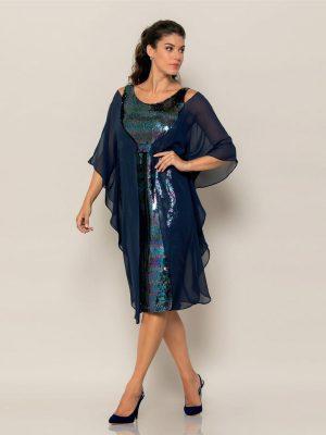 Φόρεμα Παγιέτα με Τουνίκ Μουσελίνα