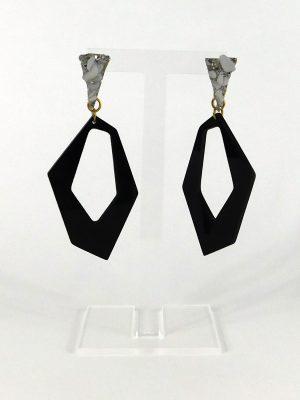 Σκουλαρίκια Plexi-glass με Λευκό Στρας