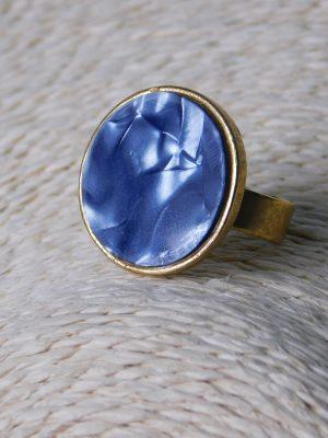 Δαχτυλίδι με μπλε ακρυλικό μάρμαρο