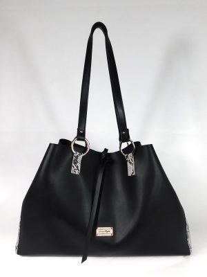 Τσάντα Ώμου Μαύρη με Ασπρόμαυρο Φίδι