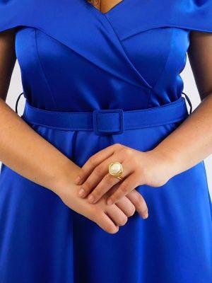 Δαχτυλίδι Χρυσό με Εκρού Πέρλα