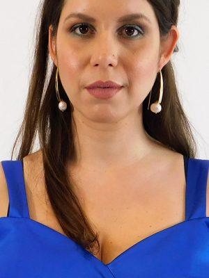 Σκουλαρίκια με Μακρύ Γάντζο και Πέρλα