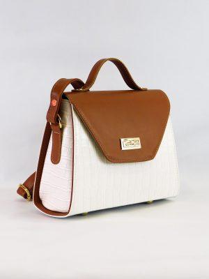 Τσάντα Λευκή Κροκό με Κανελί Καπάκι