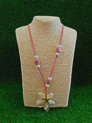 Κολιέ με ροζ χάντρες