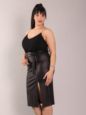 Εφαρμοστή Φούστα σε Δερματίνη με Ζώνη, Plus Size