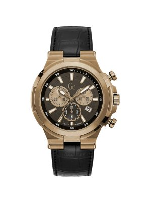 GUESS GC COLLECTION ΑΝΔΡΙΚΟ ΔΕΡΜΑΤΙΝΟ ΜΑΥΡΟ ΡΟΛΟΙ Y23012G2
